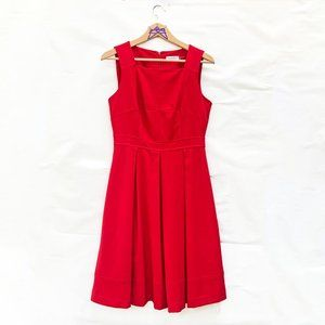 Calvin Klein Fit Flare Pleated Red Dress 6